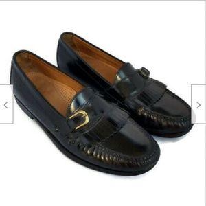 Cole Haan black slip on dress shoes tassel loafers